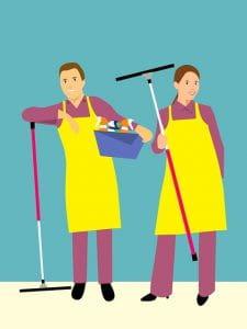 Illsutration d'un homme et d'une femme assorties faisant le ménage.